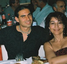 Toli and friend at a wedding in Crete