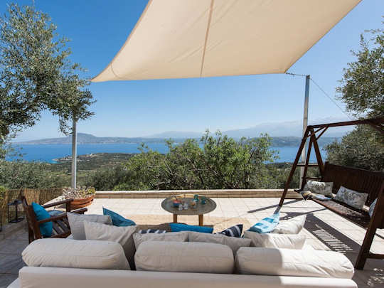 The view from the patio of the Gardenia Garden House which is 7 km from Chania Airport in western Crete