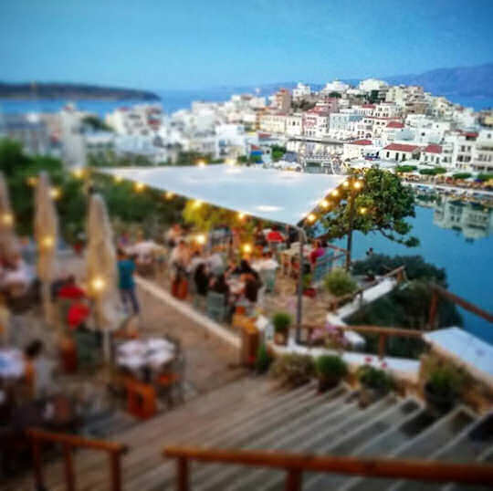 Gioma Meze Bar looking over Lake Voulismeni in Agios Nikolaos, Crete