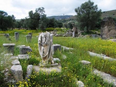 Γόρτυνα, roman ruins - green grass and daffodils all over the site (image by Salvatore Mugllett)