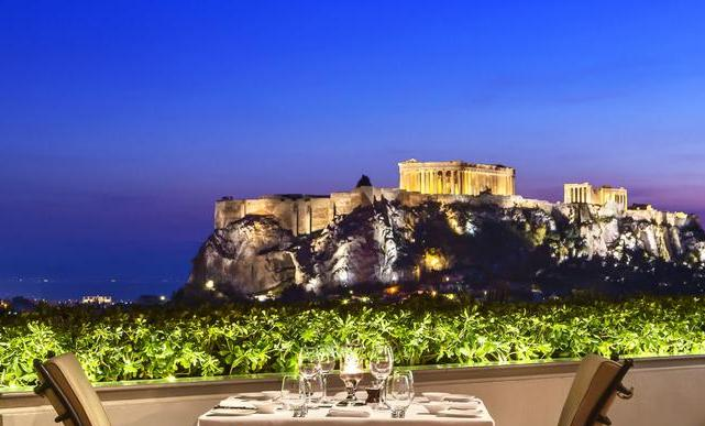 The view from the Grand Bretagne Hotel, Athens, over the Acropolis