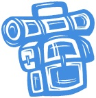Blue and white backpack cartoon - we use this as our budget symbol here at We Love Crete