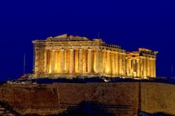 Parthenon atop the Acropolis in Athens at night