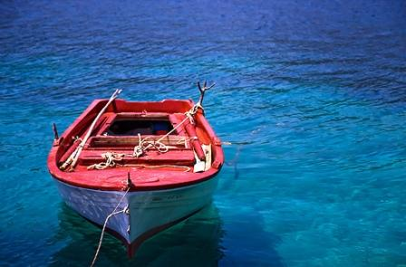 Wooden fishing boat in Lefkada, Greece