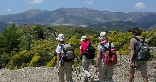 Group of trekkers with The Happy Walker in the hills outside Rethymnon