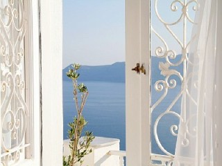 Holiday Villa in Santorini - view across the deep blue Mediterranean