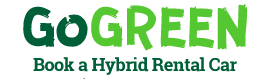 Go green book a hybrid hire car logo