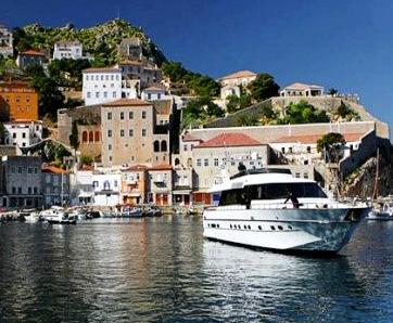 A boat in Hydra harbour, Greece