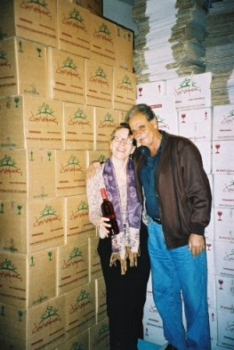 Katia with just a few bottles of the wine of Crete! and the kind friend who shared them!