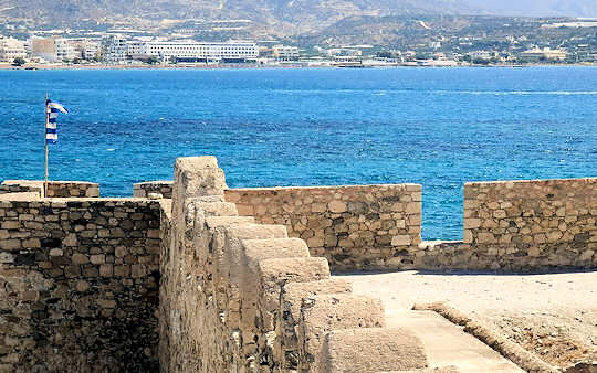 The view from Kales Fortress in Ierapetra back across the bay