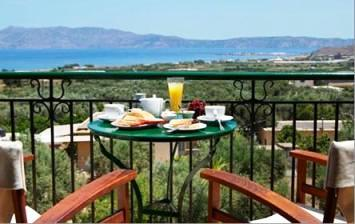 Kaliviani Traditional Guesthouse - view from balcony with breakfast over the bay