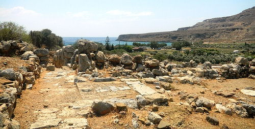 The ruins of the Minoan Palace of Zakros are right by the bay