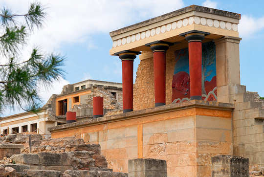 Knossos Palace archaeological site is partially reconstruted showing an idea of what it might have looked like in ancient times