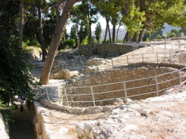 Kouloura or rounded pit in the west court of Knossos Palace archaeological site, Crete