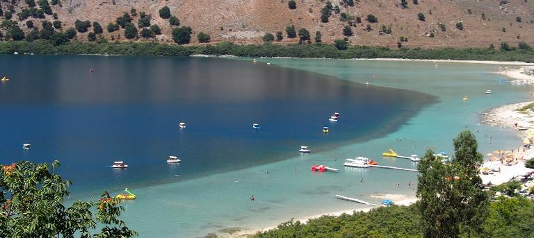 Lake Kournas has a sandy beach
