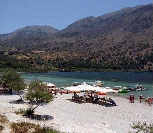 Lake Kournas - a fresh lake with a sandy beach
