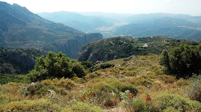 Lasithi Plateau from the Dikti Mountains, Lasithi, Crete