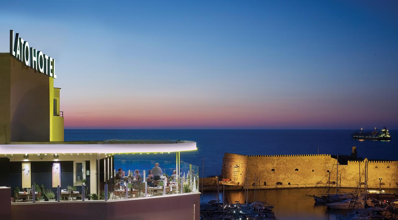 The Lato Hotel in Heraklion has views over the Old Harbour