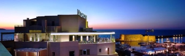 The Lato Hotel in downtown Heraklion is centrally located and looks over the old port and Venetian Fortress