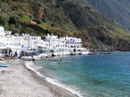 This beautiful beach is named Loutro