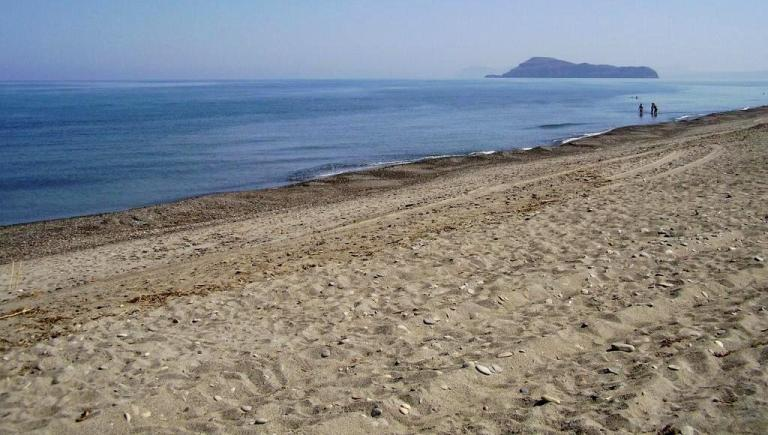 Maleme Beach is a long sand and pebble beach west of Chania town, Crete