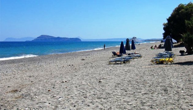 Maleme Beach in the north west of Crete in Greece