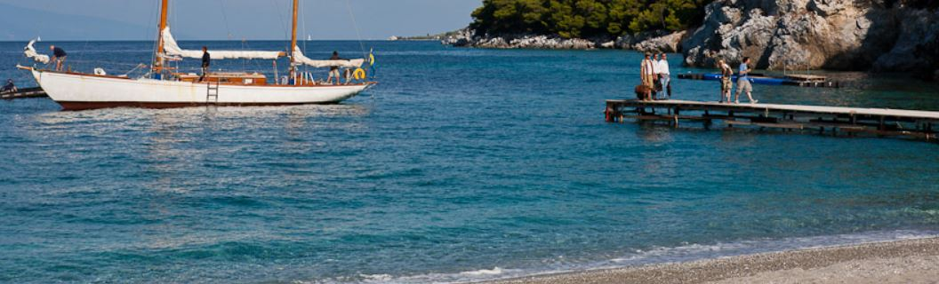 Kastani Beach Skopelos - the three fathers arrive by yacht