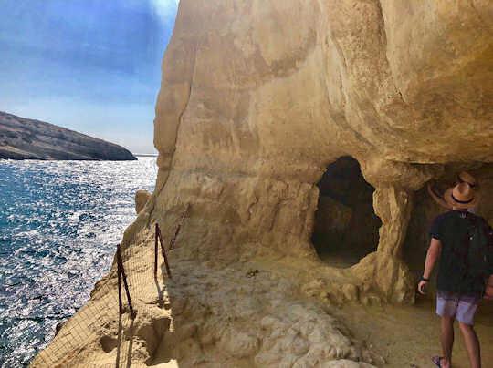 Exploring the caves at Matala Beach