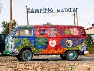 Hippie Combi at the camping entrance