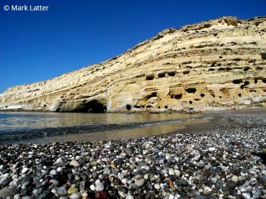 Matala Beach in southern Crete, Greece (image by Mark Latter)