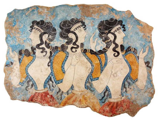 Knossos Palace was decorated with beautiful frescoes