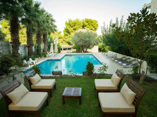 Myrto Hotel near Rafina Port - relaxing pool and gardens