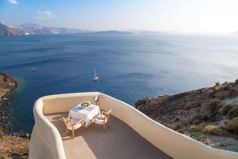 Mystique Hotel Santorini - private dining with sweeping views