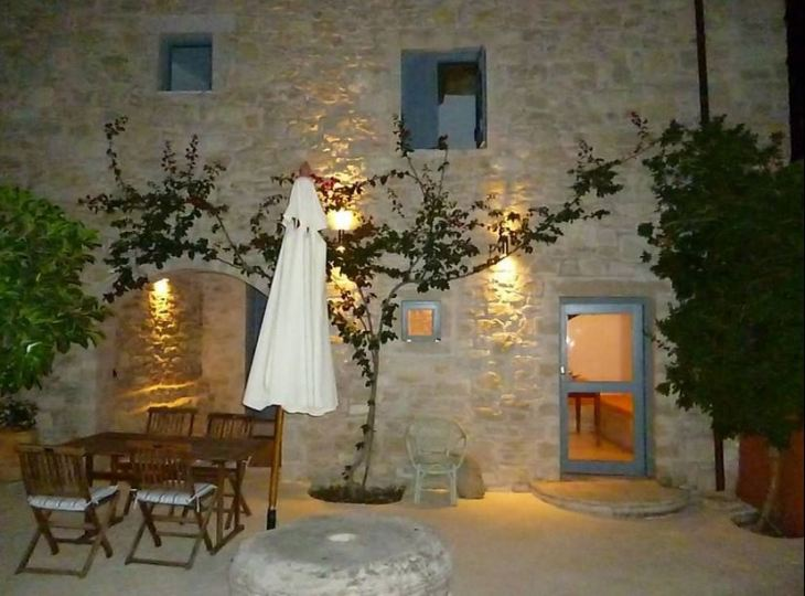 The Old Mill Villa just outside Zouridi in Rethymnon, Crete - traditional stonework and cool courtyard