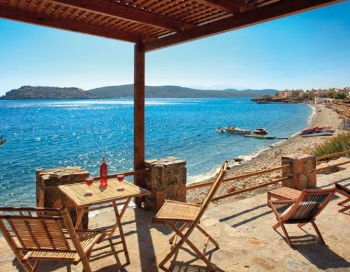 Plaka Seaside Cottages look across to Spinalonga Island