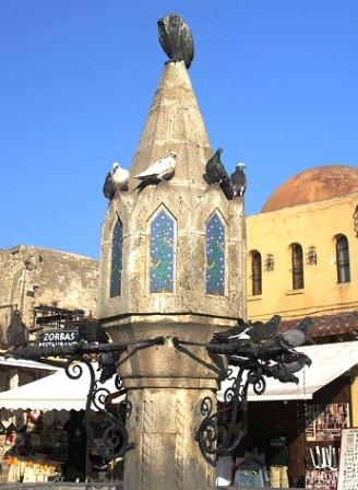 Owl Fountain, Rhodes Old Town, Greece