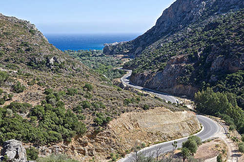 Drive through rugged gorge country to access the southern coast of Chania - this is the road to Paleochora in south-west Crete