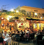 Outdoor dining on the courtyard, pizza taverna