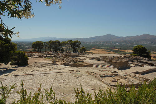The archaeological site is located in the middle of the beautiful Messara Valley