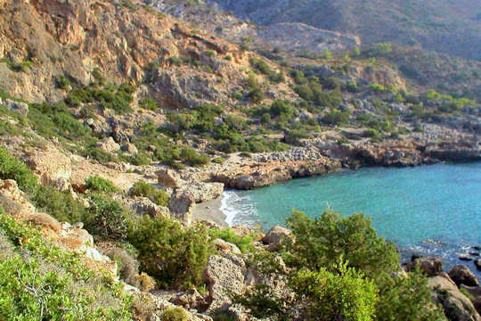 Small coves lie east and west of Paleochora, Crete