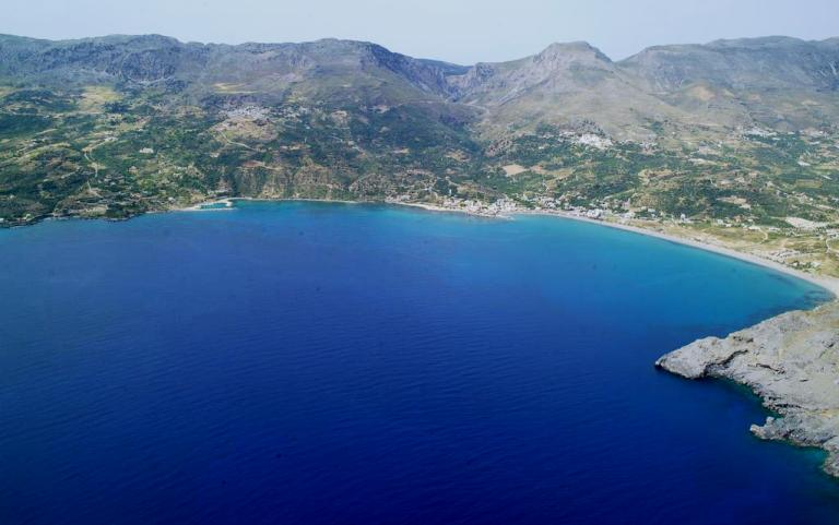 Plakias Beach sits on a wide bay