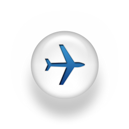 Blue and white aeroplane icon