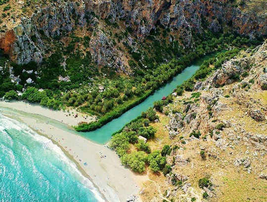 Preveli Beach in Crete - difficult to access, a palm forested river secret