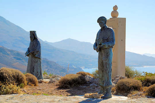 At the place of embarkation of troops during WWII, a monument to peace, Preveli.