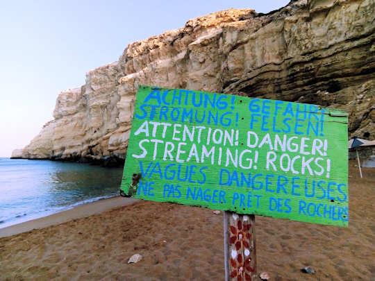 Visitors have put up a sign on Red Beach