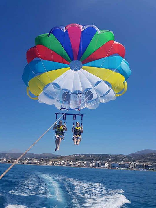 Rethymnon Beach parasailing with Ikarus Watersports