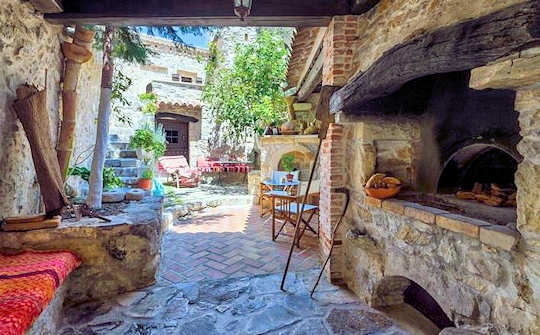 The courtyard of Meronas Eco House in Meronas Village, Rethymnon Crete