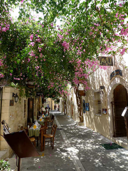 Rethymnon Old Town - a narrow laneway with flowers cascading down