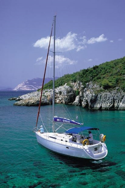 Sailing off Skopelos Island Greece