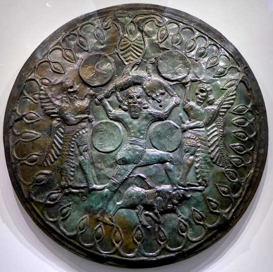 Bronze shield found in Zeus Cave